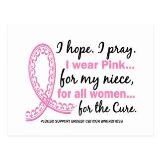 I Wear Pink For My Niece Filigree Pink Ribbon Postcard
