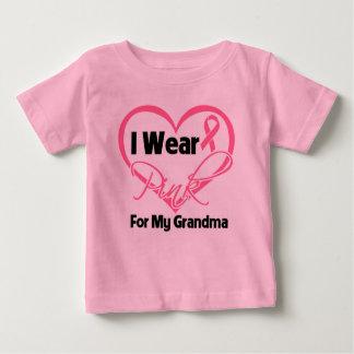 I Wear Pink Heart Ribbon Grandma Breast Cancer Baby T-Shirt
