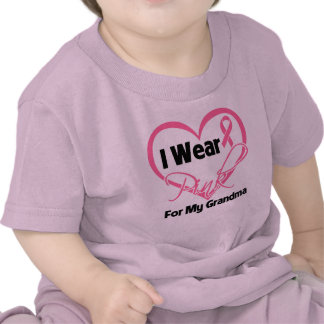 I Wear Pink Heart Ribbon Grandma Breast Cancer Tshirts