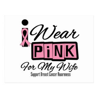 I Wear Pink Ribbon Breast Cancer Wife (Retro) Postcard