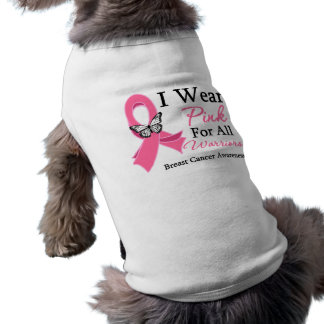 I Wear Pink Ribbon For All Warriors Breast Cancer Sleeveless Dog Shirt