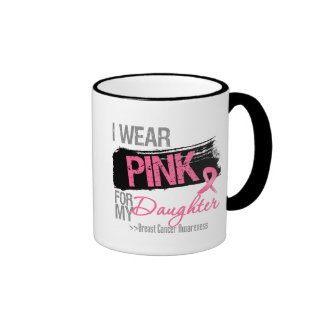 I Wear Pink Ribbon For My Daughter Breast Cancer Ringer Coffee Mug