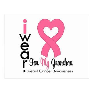 I Wear Pink Ribbon For My Grandma Breast Cancer Postcard