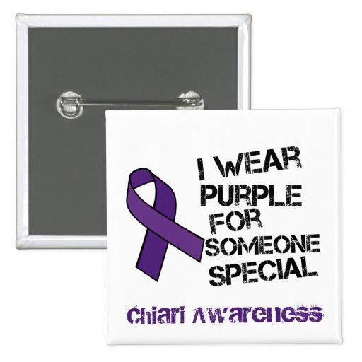 I Wear Purple Chiari Awareness Ribbon Button