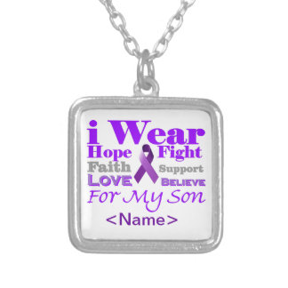 I Wear Purple (Epilepsy) for My Son Products Square Pendant Necklace