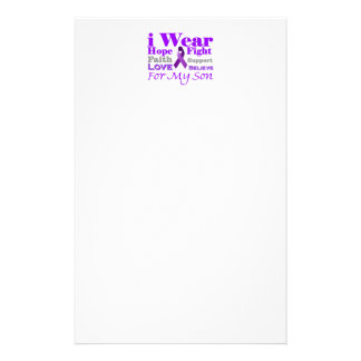 I Wear Purple Epilepsy for My Son Products Custom Stationery