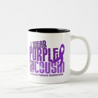 I Wear Purple For My Cousin 6.4 Cystic Fibrosis Two-Tone Coffee Mug