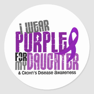 I Wear Purple For My Daughter 6 Crohn's Disease Round Sticker