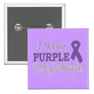 I Wear Purple For My Granddaughter (Purple Ribbon) 15 Cm Square Badge