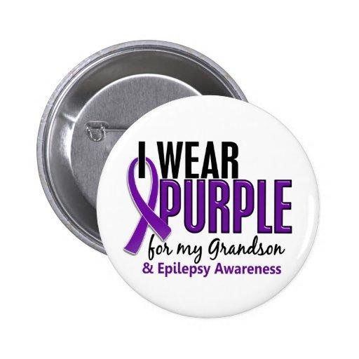 I Wear Purple For My Grandson 10 Epilepsy Buttons