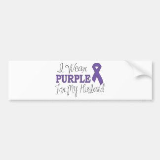 I Wear Purple For My Husband (Purple Ribbon) Bumper Sticker