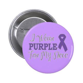 I Wear Purple For My Niece (Purple Ribbon) 6 Cm Round Badge