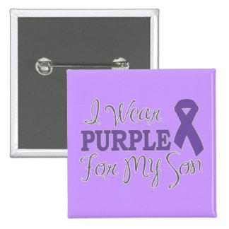I Wear Purple For My Son Purple Ribbon Pinback Button