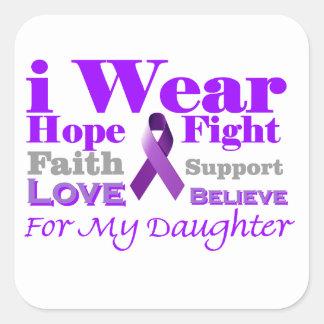 I Wear Purple - My Daughter Has Epilepsy Square Sticker
