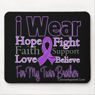 I Wear Purple Twin Brother - Pancreatic Cancer Mouse Pad