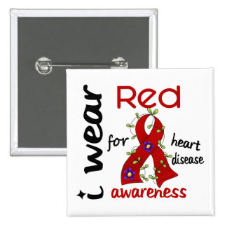 I Wear Red For Awareness 43 Heart Disease 15 Cm Square Badge