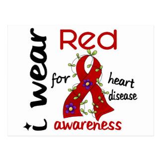 I Wear Red For Awareness 43 Heart Disease Postcard