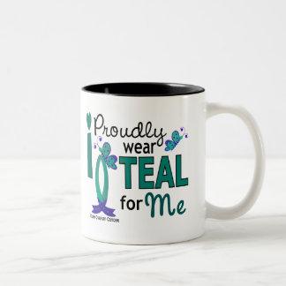 I Wear Teal For Me 27 Ovarian Cancer Two-Tone Coffee Mug