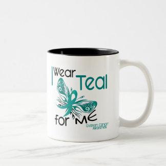 I Wear Teal For ME 45 Ovarian Cancer Two-Tone Coffee Mug