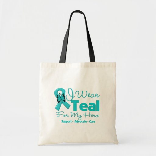 I Wear Teal For My Hero Tote Bags