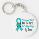 I Wear Teal For The Hero in My Life...My Mum Keychain