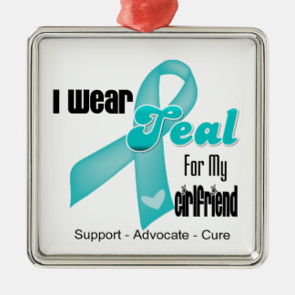 I Wear Teal Ribbon For My Girlfriend Silver-Colored Square Decoration