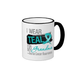 I Wear Teal Ribbon For My Grandma Ovarian Cancer Ringer Mug