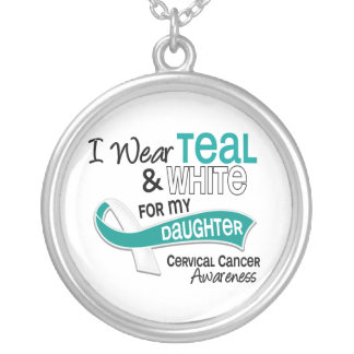 I Wear Teal White 42 Daughter Cervical Cancer Silver Plated Necklace
