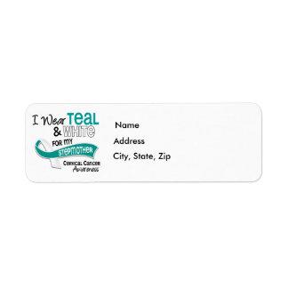 I Wear Teal White 42 Stepmother Cervical Cancer Return Address Label