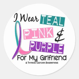 I Wear Thyroid Cancer Ribbon For My Girlfriend 37 Classic Round Sticker