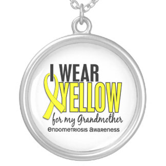 I Wear Yellow For My Grandmother 10 Endometriosis Round Pendant Necklace