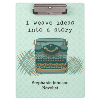 I Weave Ideas Into A Story Vintage Typewriter Clipboard
