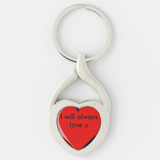 I will always love u Silver-Colored twisted heart key ring