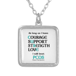 I will beat PCOS Silver Plated Necklace