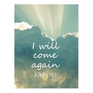 I Will Come Again Bible Verse Postcard