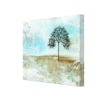I Will Endure Abstract Landscape Lone Tree Art Canvas Print