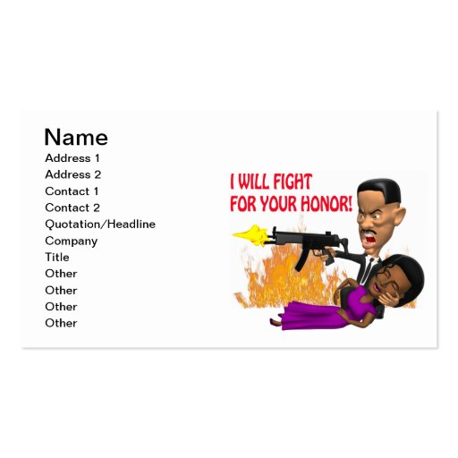 I Will Fight For Your Honor Business Card Template