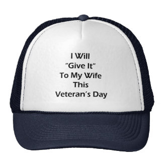 I Will Give It To My Wife This Veteran's Day Hats