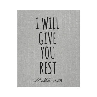 I will give you rest Bible Verse Scripture Canvas Print
