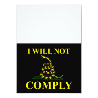 I Will Not Comply! 14 Cm X 19 Cm Invitation Card