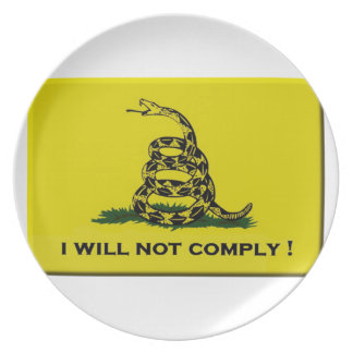 I will not comply plate