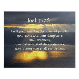 I will pour out My Spirit Joel 2 28, Bible Verse Poster