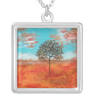 I Will Revere Square Pendant Necklace Painting Art