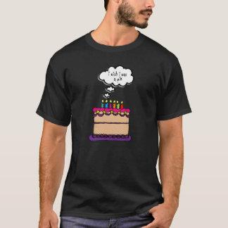 I Wish I Was a Pie Bday Cake Funny Cartoon T-Shirt