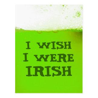 I Wish I Were Irish Green Beer Postcard