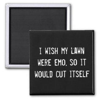 i wish my lawn were emo so it would cut itself fridge magnets