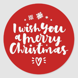 I Wish You A Merry Christmas Red And White Classic Round Sticker