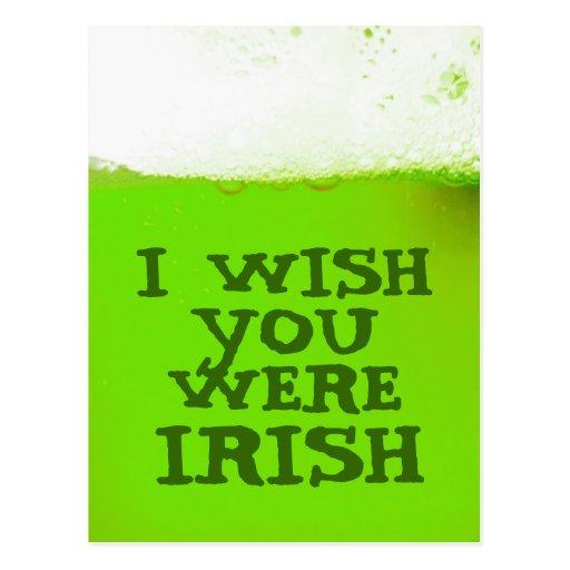 I Wish You Were Irish Green Beer Postcard
