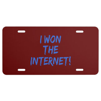 I Won the Internet - Red Background License Plate