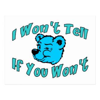 I Won't Tell Secret Bear Postcard